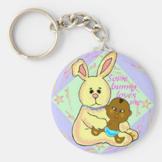 African baby and yellow rabbit basic round button keychain