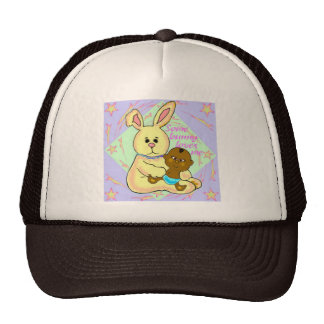 African baby and yellow rabbit mesh hat