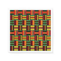 African Basket Weave Pride Red Yellow Green Black Napkin