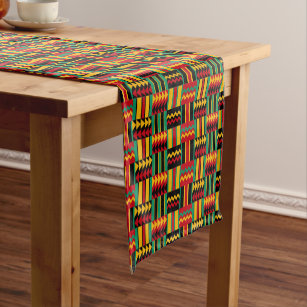 African Basket Weave Pride Red Yellow Green Black Short Table Runner
