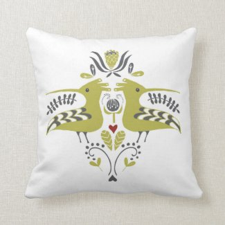 African Bird / Hoepoe / Design / Coral / Shweshwe Throw Pillow
