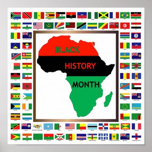 African & Black Flags Print