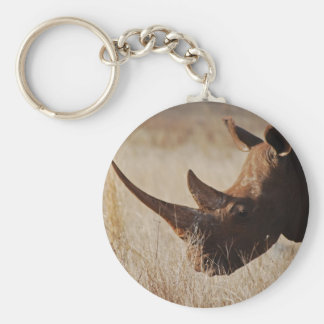African black rhino with big horns basic round button keychain