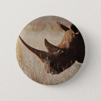 African black rhino with big horns button