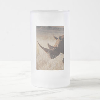 African black rhino with big horns frosted glass beer mug