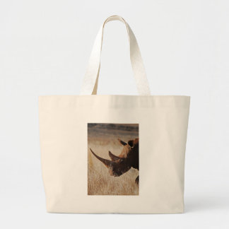 African black rhino with big horns large tote bag