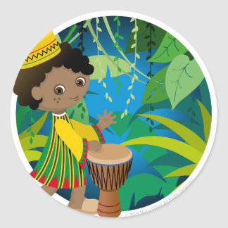 African boy classic round sticker