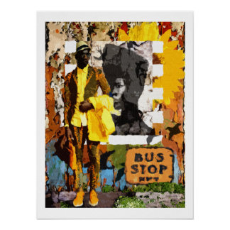 African Bus Stop Poster