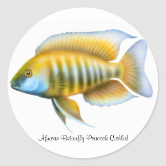African Butterfly Peacock Cichlid Classic Round Sticker