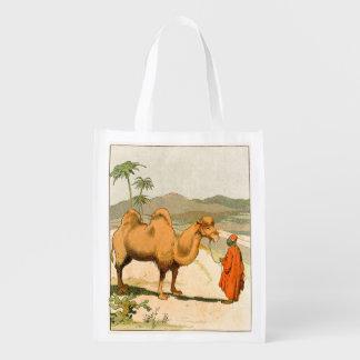 African Camel and Desert Traveler Reusable Grocery Bag