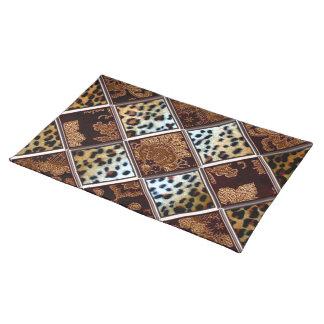 African Cheetah Patch Quilt Pattern Cloth Place Mat