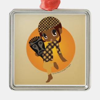 African Chibi Christmas Ornament