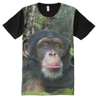 African Chimpanzee & Jungle Primate Wildlife Photo All-Over-Print T-Shirt