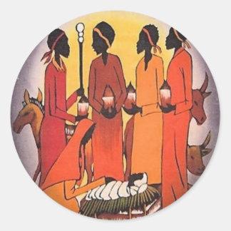 African Christmas Nativity Scene Classic Round Sticker