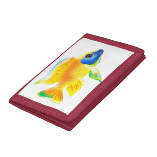 african cichlid waller blue/yellow reagle cichlid trifold wallet