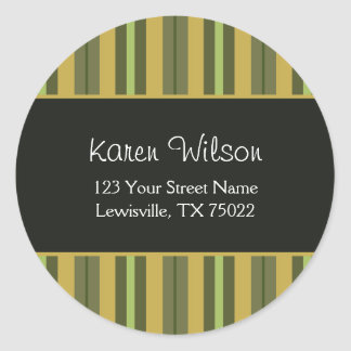 African Citrus and Black Striped Address Labels Round Stickers
