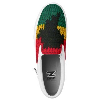 African Colors Red Black Gold Green Crochet Slip-On Sneakers