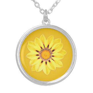 African Daisy / Gazania - Mustard Gold Round Pendant Necklace