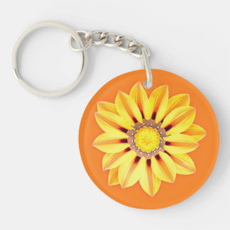 African Daisy / Gazania - Orange and Yellow Keychain