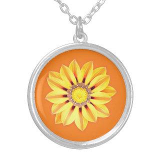 African Daisy / Gazania - Orange and Yellow Round Pendant Necklace