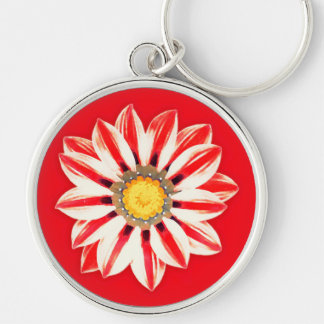 African Daisy / Gazania - Red and White Striped Keychain
