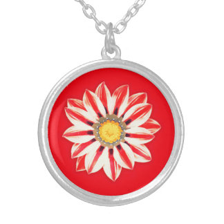 African Daisy / Gazania - Red and White Striped Round Pendant Necklace
