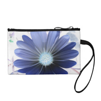 African Daisy Glowing Blue Bagettes Bag Change Purses