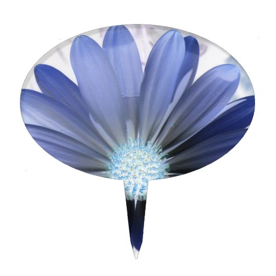 African Daisy Glowing Blue Cake Pick