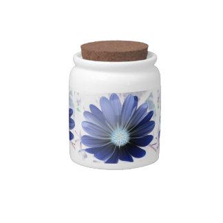 African Daisy Glowing Blue Candy Jar