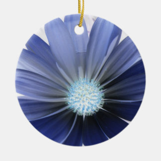 African Daisy Glowing Blue Custom Birthday Double-Sided Ceramic Round Christmas Ornament