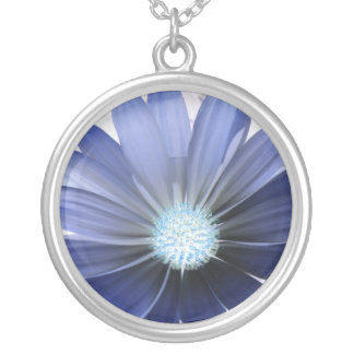 African Daisy Glowing Blue Necklace