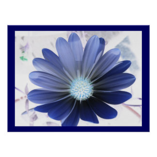 African Daisy Glowing Blue Print