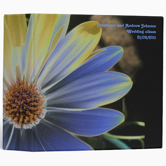 African Daisy Lapis and Gold Custom Wedding Album 3 Ring Binder