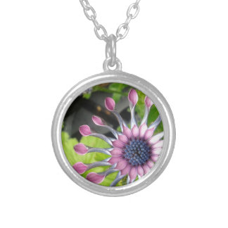 African daisy round pendant necklace