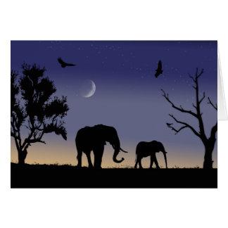 African dawn - elephants card