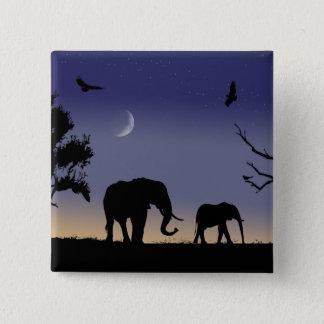 African dawn - elephants pinback button