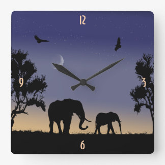 African dawn - elephants square wall clock