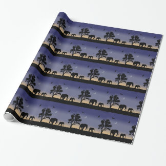 African dawn - elephants wrapping paper
