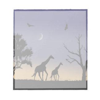 African dawn - giraffes memo note pad