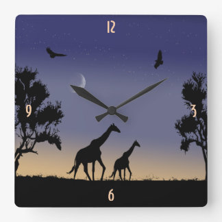 African dawn - giraffes square wall clock