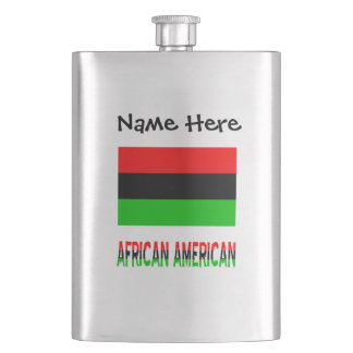 African Diaspora Flag and African American w/ Name Hip Flask