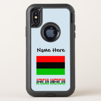 African Diaspora Flag and African American w/ Name OtterBox Defender iPhone X Case