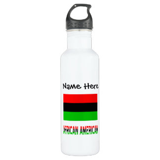 African Diaspora Flag and African American w/ Name Stainless Steel Water Bottle