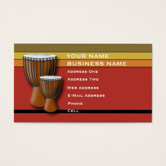 African Djembe Drum - Music Business Card