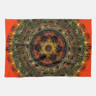 African Dusk Mandala Kitchen Tea towel (orange)