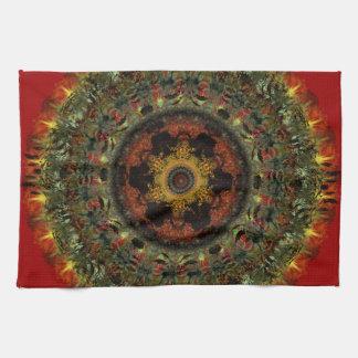 African Dusk Mandala Kitchen Tea towel (red)