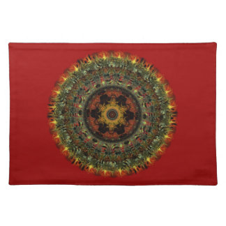 African Dusk Mandala placemat (red)