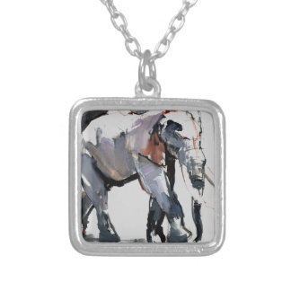 African Elephant 2012 Square Pendant Necklace