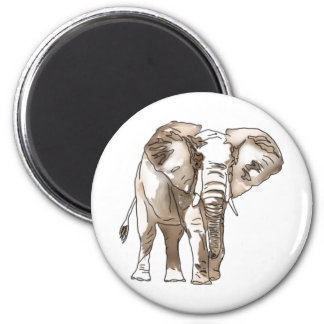 African Elephant 2 Inch Round Magnet
