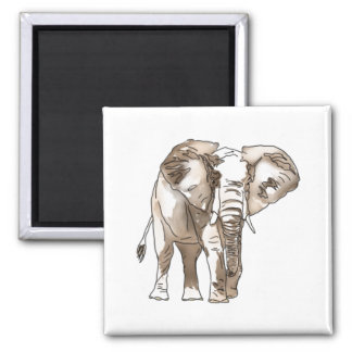 African Elephant 2 Inch Square Magnet